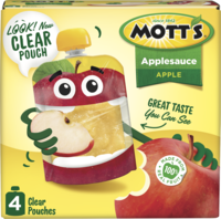 Mott's® Applesauce Apple 3.2oz 4-pack clear pouches box