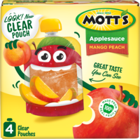Mott's® Applesauce Mango Peach 3.2oz 4-pack clear pouches box