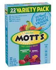 Mott's® Assorted Fruit Flavored Snacks  22-count variety pack