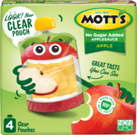 Mott's® No Sugar Added Applesauce Apple 3.2oz 4-pack clear pouches box