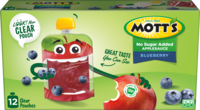 Mott's® No Sugar Added Applesauce Blueberry 3.2oz 12-pack clear pouches box