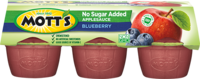 Mott's® No Sugar Added Applesauce Blueberry 3.9oz 6-pack cups