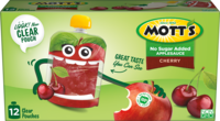 Mott's® No Sugar Added Applesauce Cherry 3.2oz 12-pack clear pouches box