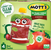 Mott's® No Sugar Added Applesauce Cherry 3.2oz 4-pack clear pouches box