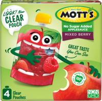 Mott's® No Sugar Added Applesauce Mixed Berry 3.2oz 4-pack clear pouches box
