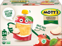 Mott's® No Sugar Added Applesauce Organic Apple 3.2oz 24-pack clear pouches box
