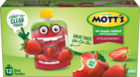 Mott's® No Sugar Added Applesauce Strawberry 3.2oz 12-pack clear pouches box