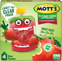 Mott's® No Sugar Added Applesauce Strawberry 3.2oz 4-pack clear pouches box