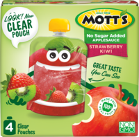 Mott's® No Sugar Added Applesauce Strawberry Kiwi 3.2oz 4-pack clear pouches box
