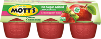 Mott's® No Sugar Added Applesauce Strawberry Kiwi 3.9oz 6-pack cups